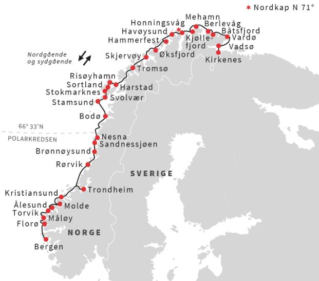 Hurtigruten 12 day voyage from Bergen via Kirkenes to Bergen